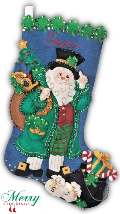 """Bucilla Felt Stocking Kit - old discontinued kit """"Irish Santa"""" re-manufactured exclusively for MerryStockings.com. Available 1/1/13 for $34.99."""