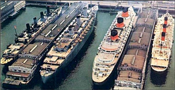 SS Normandie in port with other liners.
