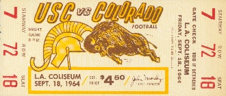 1964 University of Southern California vs. Colorado Classic Ticket Poster. Now, they are in the same conference!  Perfect Father's Day gift.