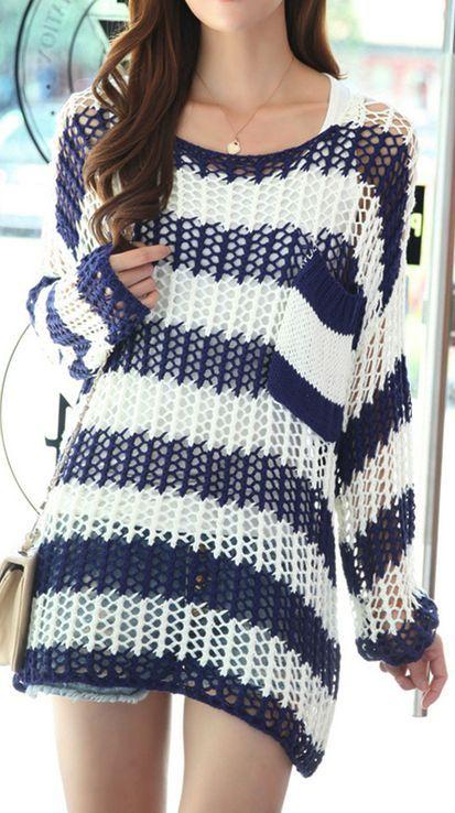 Casual Loose Stripe Crochet Sweater
