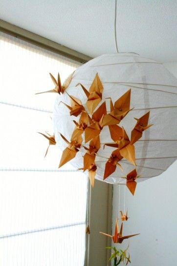 Lampadario con uccelli a origami