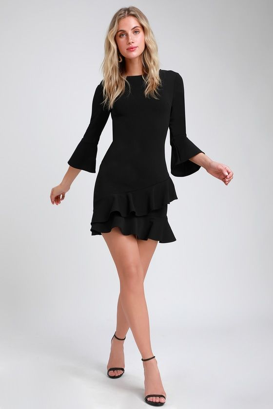 6a3e7095519a Lulus Exclusive! The Lulus Sensational Statement Black Ruffled Bodycon Dress  packs some seriously chic impact! This attention-grabbing dress is sure to  stun ...
