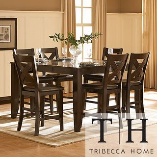 Tribecca Home Acton Merlot X Back 7 Piece Counter Height