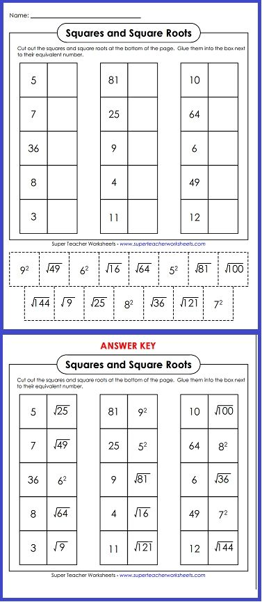 Try out this worksheet on squares and square roots!