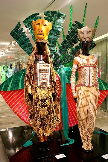 Costumes from the Broadway production of The Lion King and other Broadway shows are on display at Bloomingdale's flagship store in NYC in celebration of the Tony Awards.