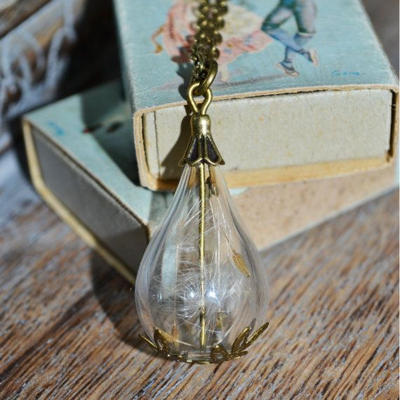 Wishes: Real Dandelion Seed Mini Teardrop bottle Vial Necklace - Childhood Memories