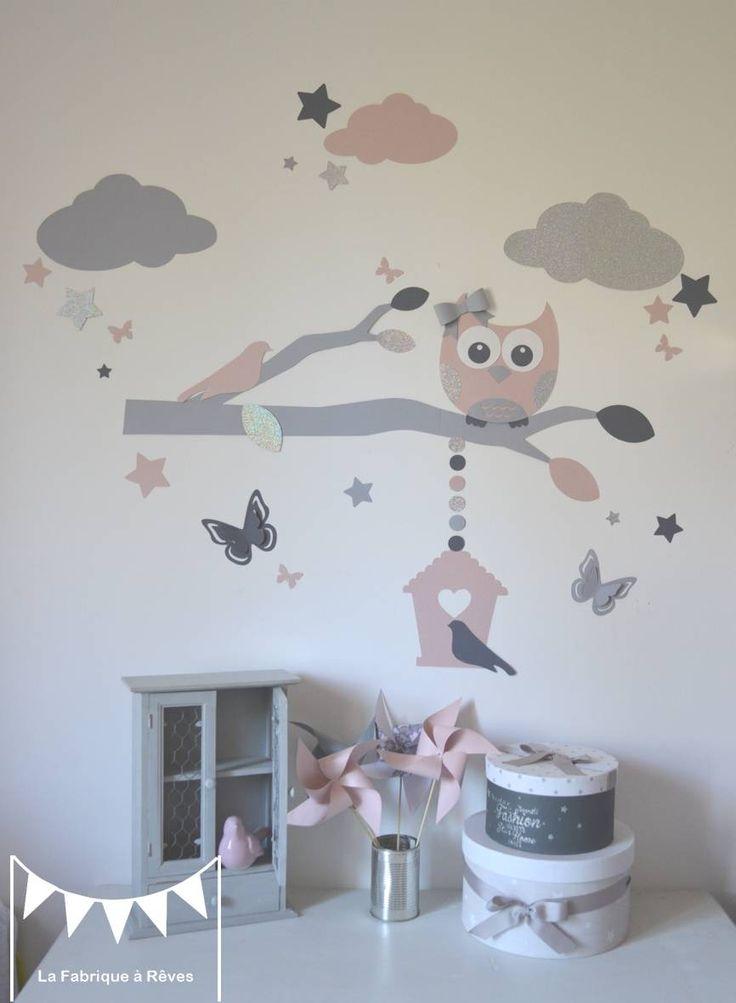 Stickers chouette branche cage à oiseau papillons nuage et étoiles - rose poudré argent gris - décoration chambre fille : Décorations murales par la-fabrique-a-reves