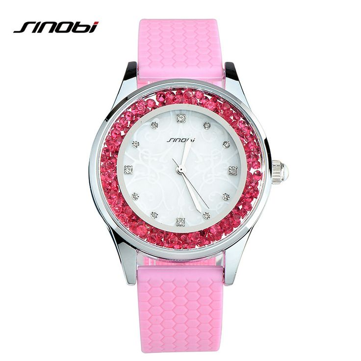 nice SINOBI Fashion Women Watches Sport Ladies Wristwatch Geneva Quartz Watch Silicone Pink Crystal Dial Hour For Young Lady