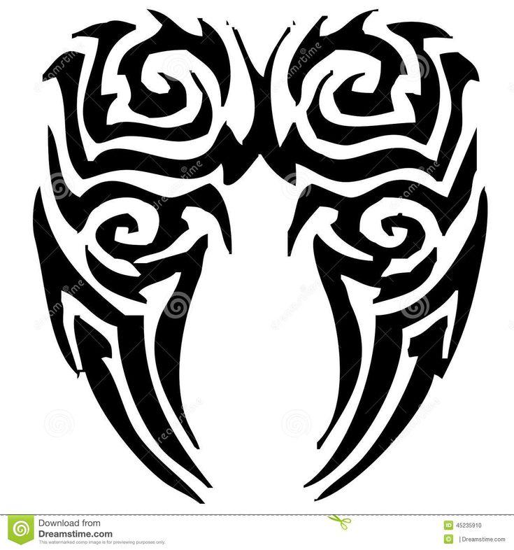 Black Tribal Wings Tattoo Stencil