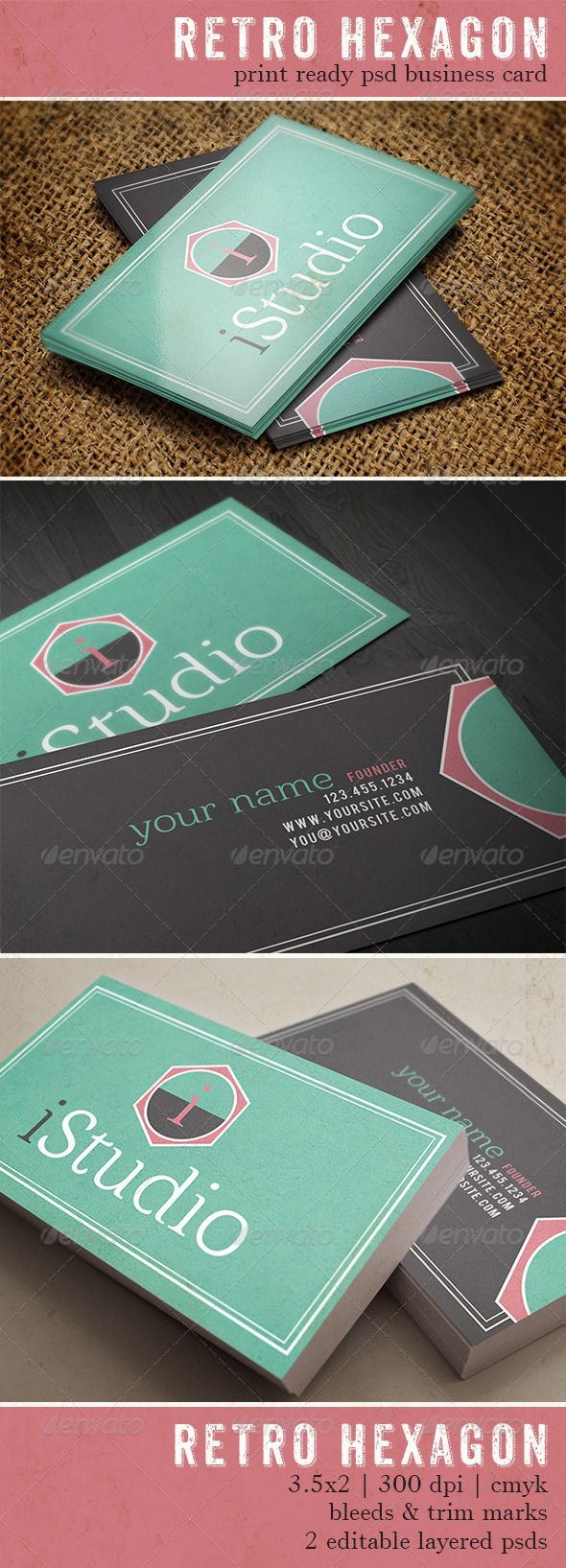 92 best print templates images on pinterest leaflet design retro hexagon business card magicingreecefo Image collections