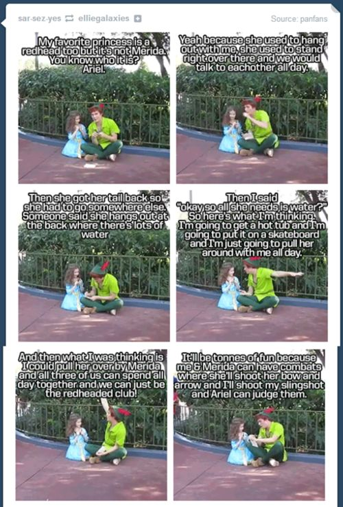 Peter wants to start a club with Ariel and Merida. I just LOVE Peter Pan!