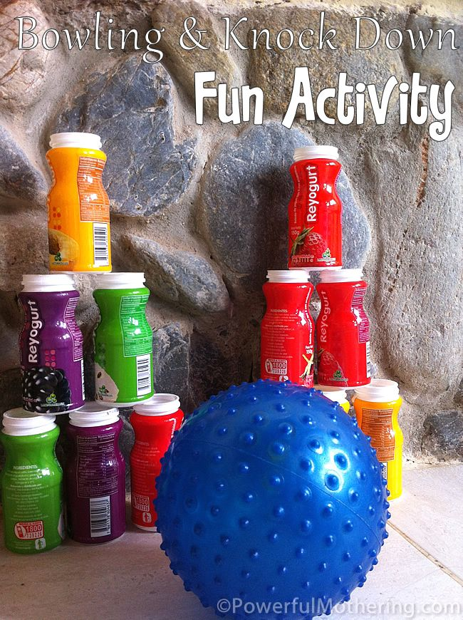 Bowling & Knock Down Fun Activity - use small water bottles and fill with noisy items, etc.