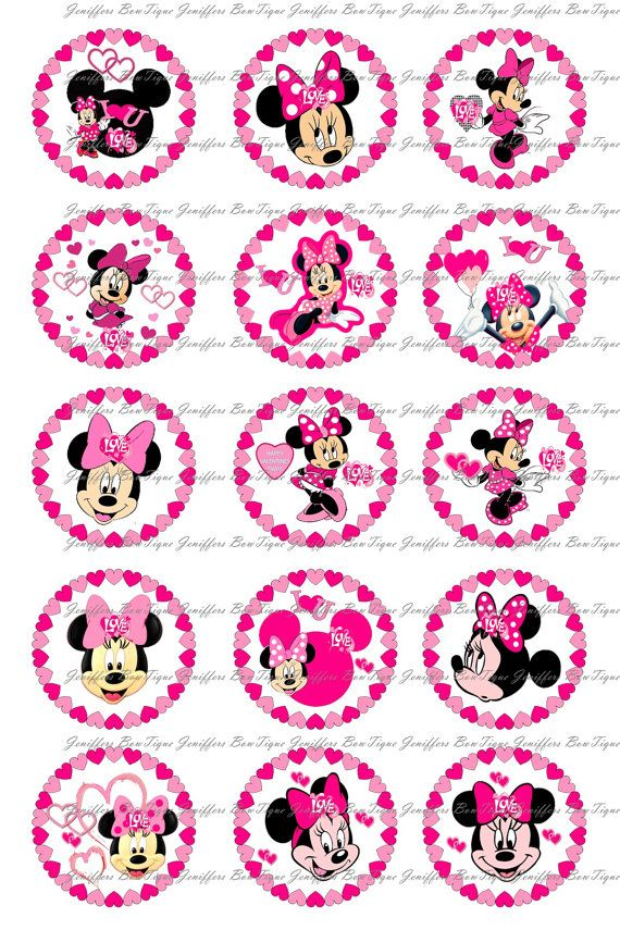 Minnie Mouse Valentines Day Bottle Cap Images 1 Inch