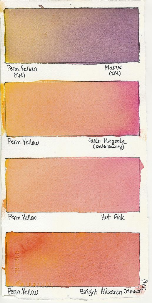 https://flic.kr/p/8Gieea | Permanent Yellow + a Color | Watercolor Mixes  Permanent Yellow plus: Mauve Quinacridone Magenta Hot Pink Bright Alizaren Crimson  All these are Terry Madden paints.