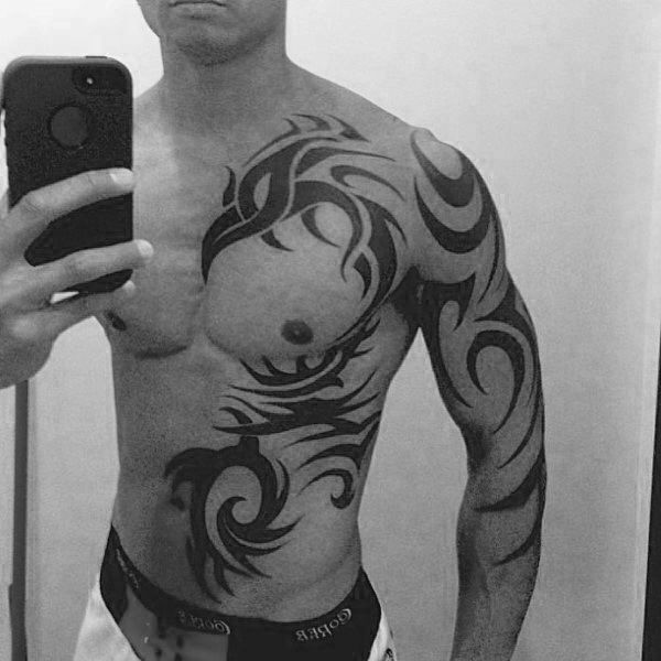 Full Chest And Arm Guys Phoenix Tribal Tattoos