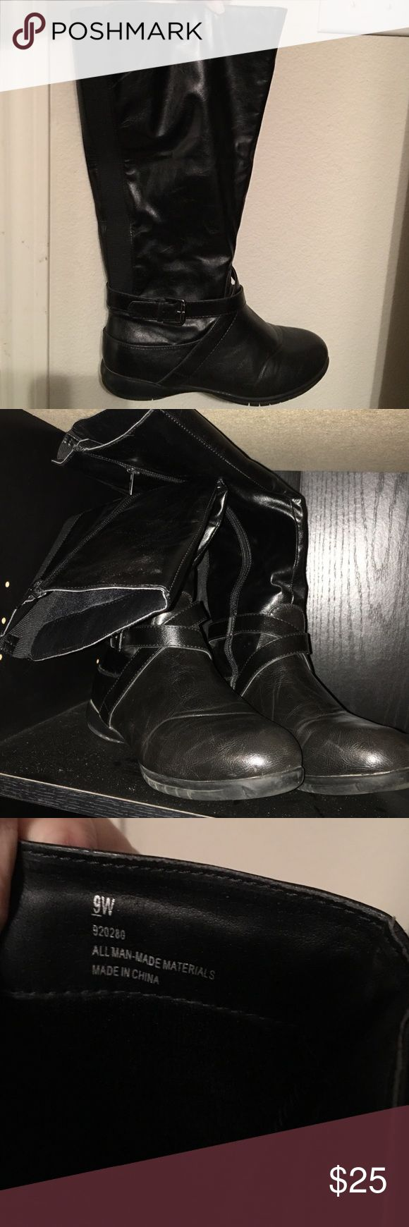 Knee high Lane Bryant boots Black knee high wide boots Lane Bryant Shoes Winter & Rain Boots