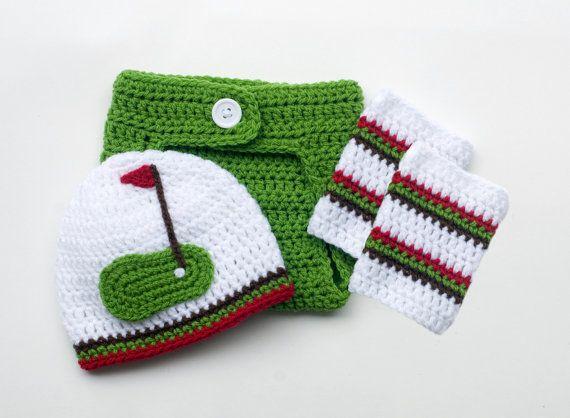 BABY GOLF BEANIE, Golf Hat Diaper Cover Outfit, Crochet Baby Boy Golf, Baby Girl Golf, Golf Photo Prop, Knit Baby Golf Hat, Newborn Golf Hat