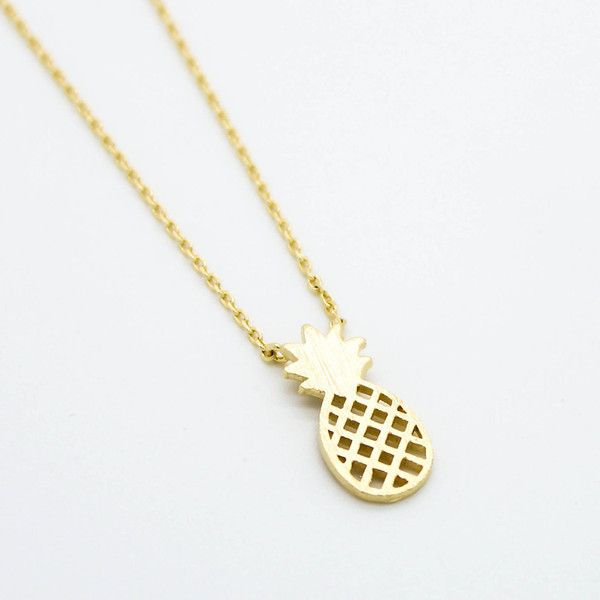 "Plated in 14k gold it is a unique piece that really catches the eye. Unlike other charm necklaces that are rounded it is flat and sits comfortably on your neck. This is the perfect gold pineapple necklace to add some fun to any outfit. Its super cute and adds just that little bit of sparkle! Available only in Gold. Free Shipping 14k Gold Plated Flat Pineapple Pendant The length of necklace is approx 17"". The Pineapple Pendant is 1.5 x 0.8 cm."