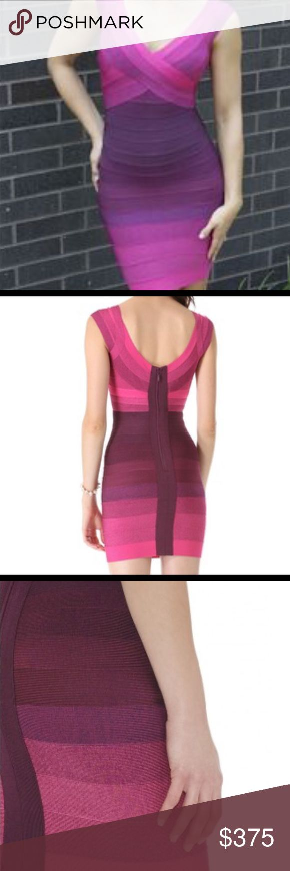"""Herve Leger """"Nannette"""" ombre purple bandage dress. Like new with tags. Originally $1,450.00 retail. Worn once. Gorgeous color of purple >orchid>fuchsia. Glamorously hot dress. Herve Leger Dresses Mini"""