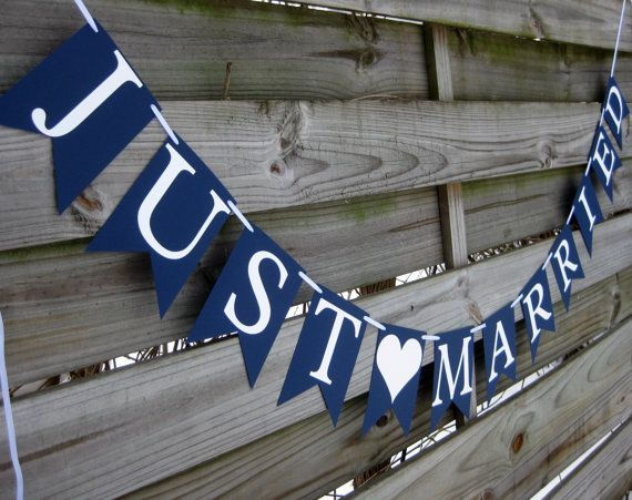 Just Married Wedding Banner in Navy Blue and White by craftyearth, $21.00. Would get heart in red. for above their sweetheart table.