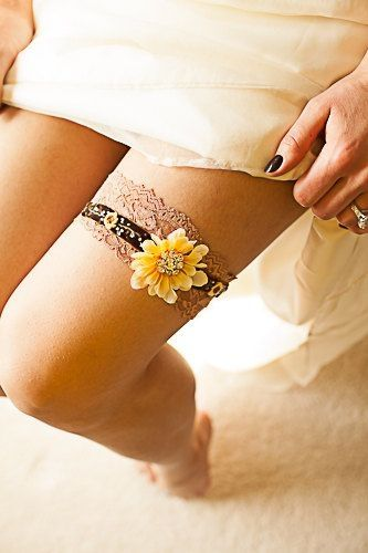 Sunflower garter Rustic wedding fall theme country garter. Velvet and lace garter. Custom orders welcome by Heather Herbert Floyd