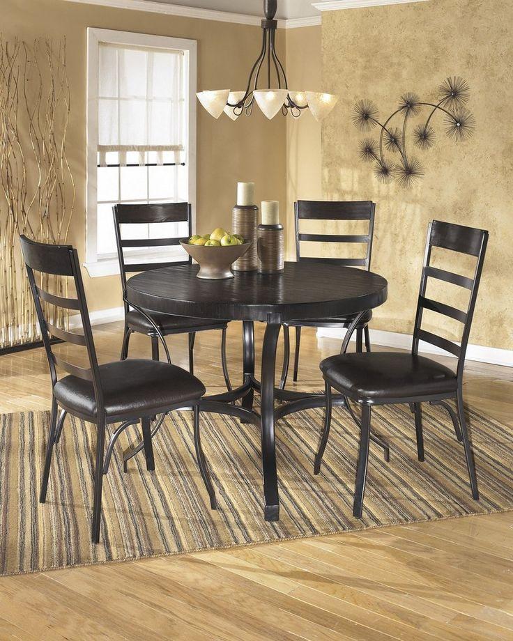 Black Formal Dining Room Set: Errica Black Metal And Espresso Wood Dining Set