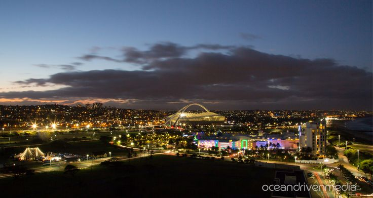City view of Durban in the evening