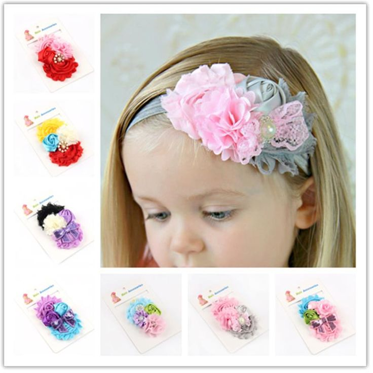 MOON BUNNY retail new 2014 handwork pearl 7 styles mix 4 flower baby Headband Wide hairband Baby Girls Headbands hair Accessorie #Baby Girls, #Accessories