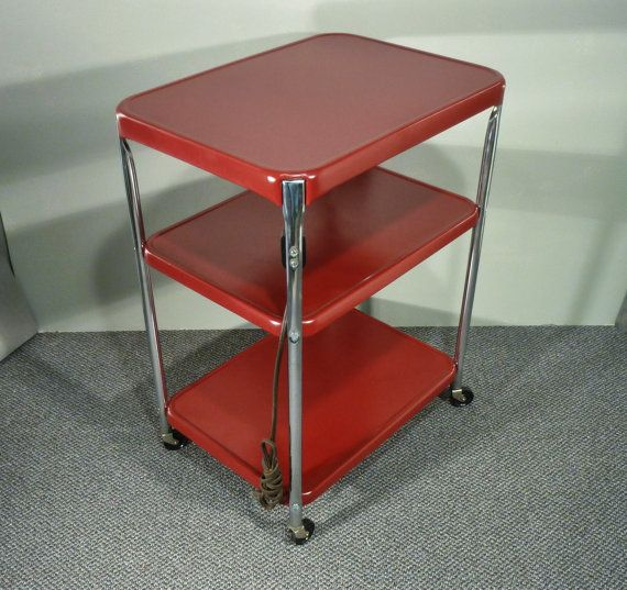 Cosco Chippy Red Metal Kitchen Cart Movable Painted Vintage: Upcycle Metal Kitchen Cart Vintage Rolling Kitchen Cart