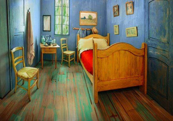 Can you guess how much it will cost you? #Art #painting #VanGogh #Chicago #Bedroom #Arles #Airbnb #travel #accomodation