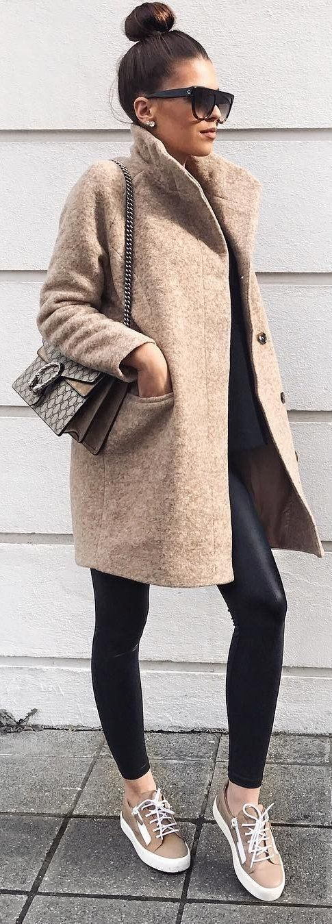 Camel Coat + Leather Leggings