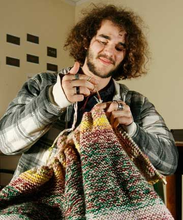 ELEMENTARY: Victoria University student Connor Burgess knits a square to represent dubnium.