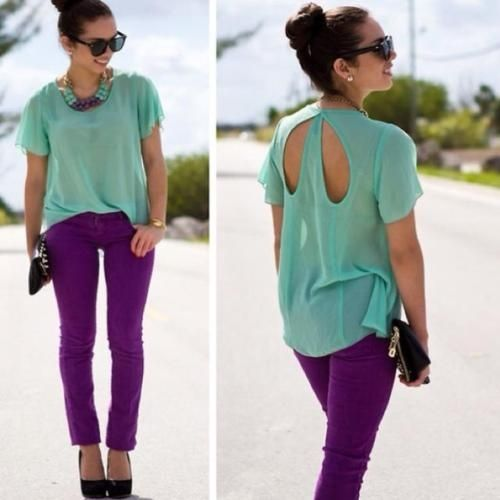 Purple skinny jeans with mint top - LOOOVE this outfit