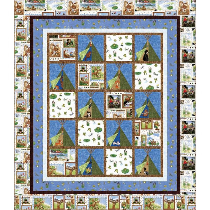 A Camping We Will Go Quilt Kit Animals Are Hiding Behind