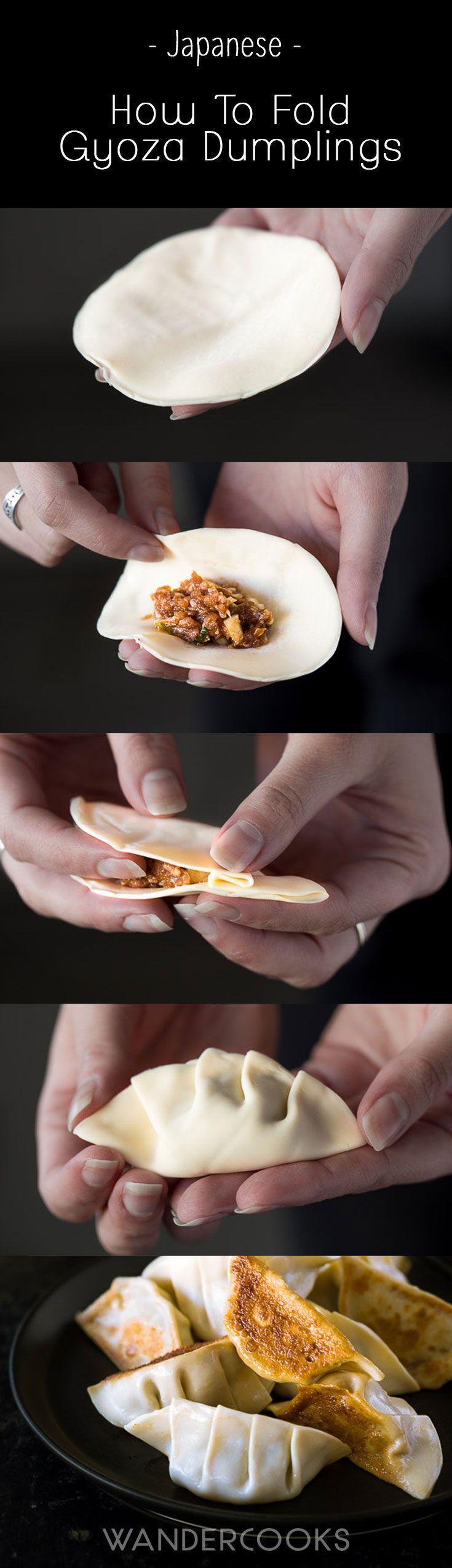Gyoza (Japanese Pork Dumplings) - Learn how to fold simple gyoza dumplings with this easy 4-step how to.   http://wandercooks.com