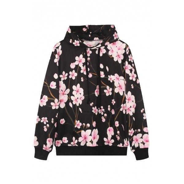 Black Floral Print Long Sleeve Hooded Sweatshirt ($23) ❤ liked on Polyvore featuring tops, hoodies, floral hoodie, long sleeve hoodie, hoodie sweatshirts, sweatshirt hoodies and black sweat shirt