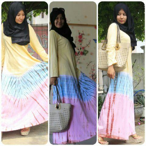 Dress Tiedye Rainbow BulBul Hijaz Made in Pekalongan - Indonesia
