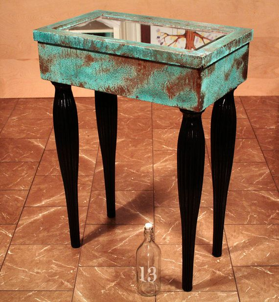 Mirrored Cabinet Entry Table - Copper Patina - Repurposed Antique Medicine Cabinet - Canopy 4 Poster Bed Legs, Mermaid, Fairytale, Nautical