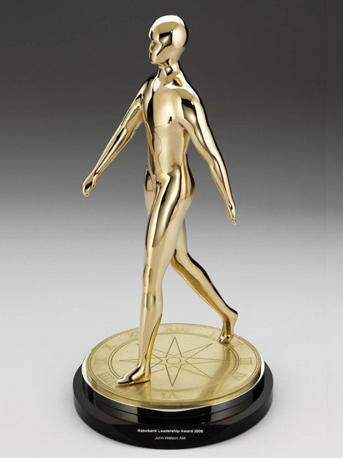 Rabobank Leadership Awards, custom metal with a gold finish. #bespoke #design #award #trophy