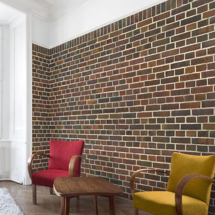 Steintapete - Vliestapete Premium - Backstein Tapete London rotbraun - Fototapete Breit