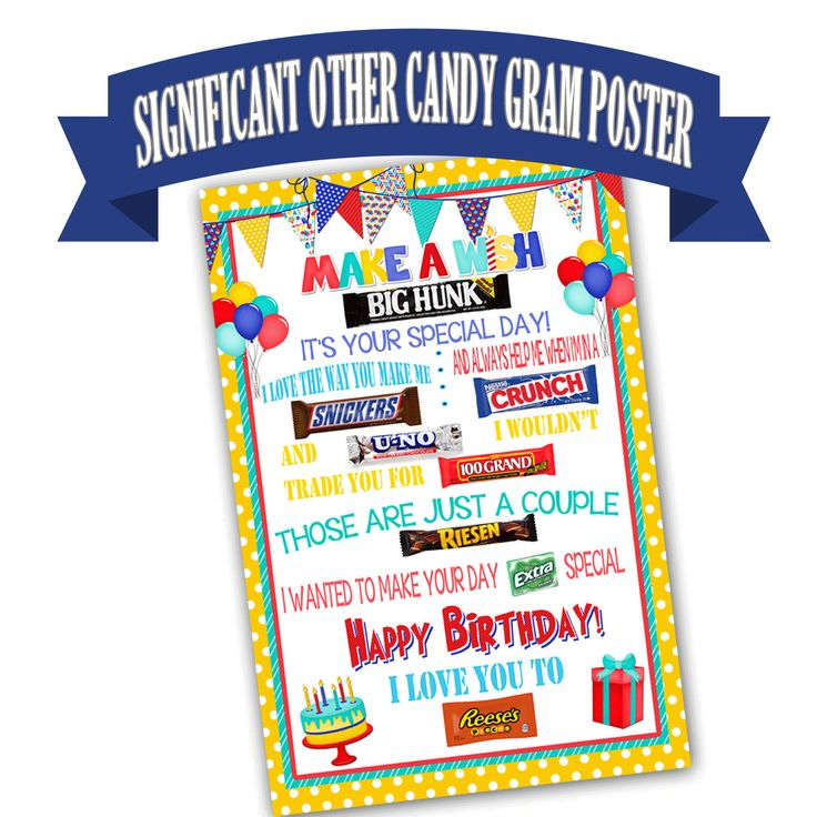 Candy Bar Poster for Significant Other, Birthday Gift for Husband, Gift for Spouse, Gift for Boyfriend, Gift for Wife, Candy Poster, Print