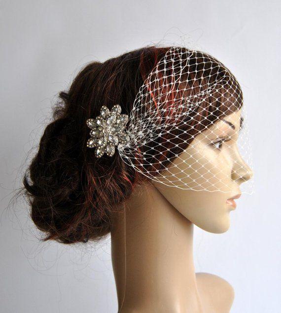 Birdcage Veil Bridal  Fascinator Wedding Headpiece Crystal Headpiece Bridal Headdress Rhinestone hair piece Bridal Hair Comb