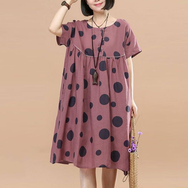 Women Splicing Summer Printing Dot Folded Cotton Linen Red Dress