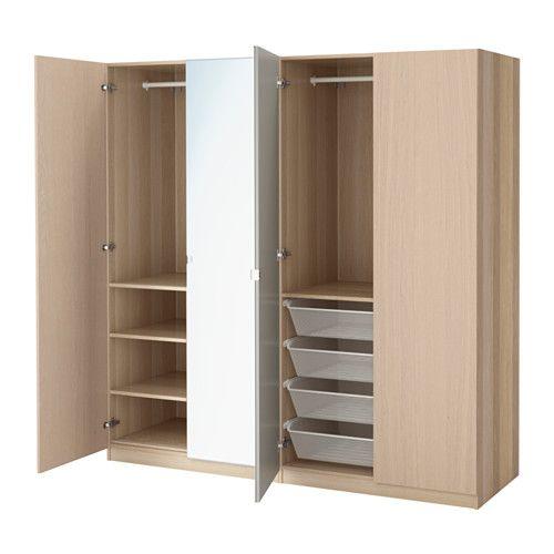 PAX Wardrobe, white stained oak effect, Nexus Vikedal soft closing hinge 200x60x201 cm