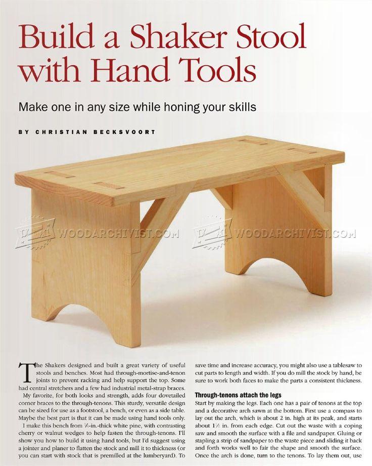 #262 Shaker Stool Plans - Furniture Plans