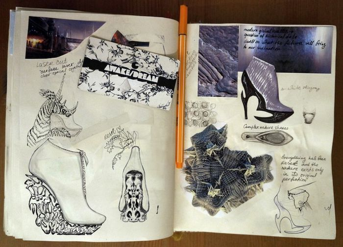 Fashion Sketchbook footwear design sketch book exploring texture, pattern & colour; fashion design drawings; shoe sketches // Anastasia Radevich