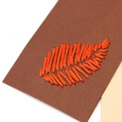 How to embroider card stock. Make a leaf bookmark.