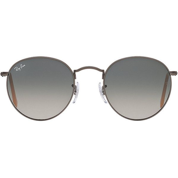 Ray-Ban RB3447 50 ROUND METAL Sunglasses ($160) ❤ liked on Polyvore featuring accessories, eyewear, sunglasses, glasses, sunnies, round lens sunglasses, round eyewear, ray ban glasses, ray ban sunnies and round lens glasses