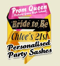 Hen Party Sashes - Frosts UK You can design your own sash here as well to match your theme - GREAT site, we use it ourselves.