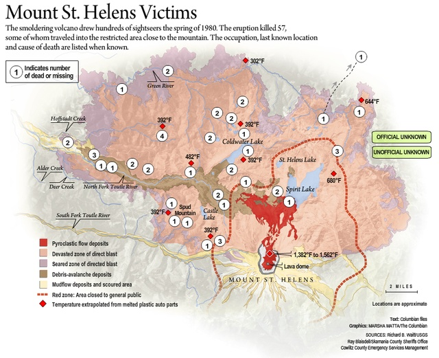 Mt St Helens Victims Map Hazards And Hazard Maps Pinterest - Map of the us hazards comic